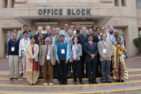 The India wheat CI  team, pictured here with Dr Swapan Datta, Deputy Director General (Crop Improvement), ICAR, (2nd row 4th left), and Dr HS Gupta, Director, IARI (1st row, 3rd left).
